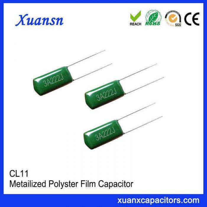 Film capacitor polyester capacitor 222J1000V