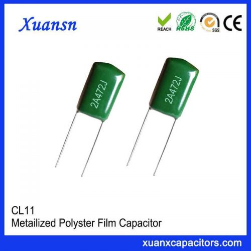 Straight plug CL11 polyester capacitor 472J100V