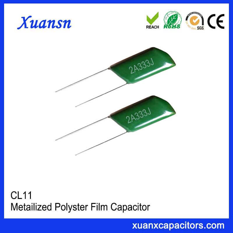 CL11 333J100V green polyester film capacitor