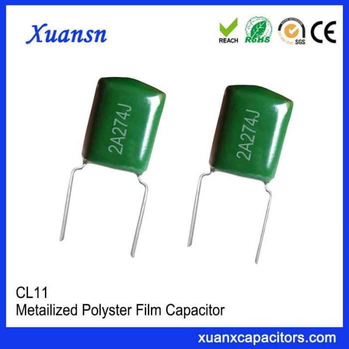 Polyester film capacitor 274J100V has high current strength, low loss, smaller volume than some other capacitors, better stability, suitable for bypass capacitor