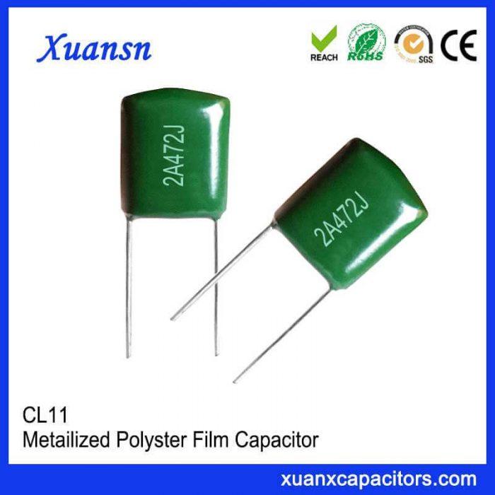 Straight plug CL11 polyester capacitor 472J100V