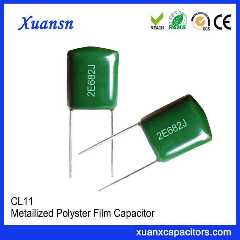 Electronic components CL11 682J250V metal foil type polyester film capacitor is inductive structure, the lead is directly spot welded to the