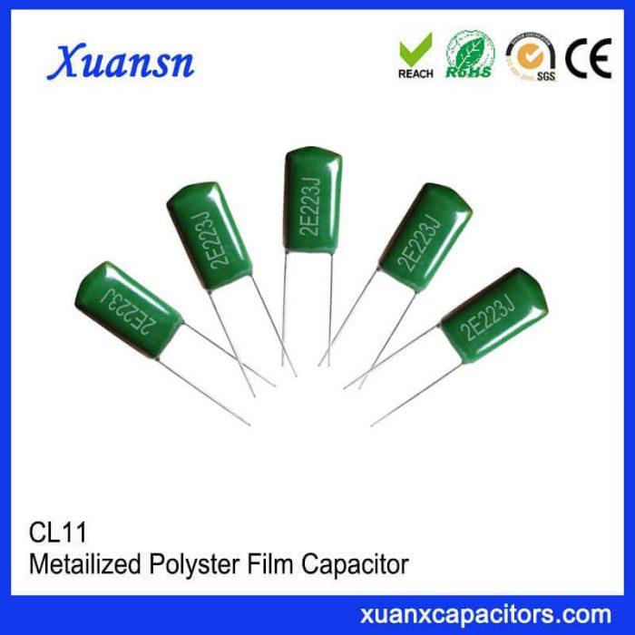 Metal foil type polyester film capacitor 2E223J