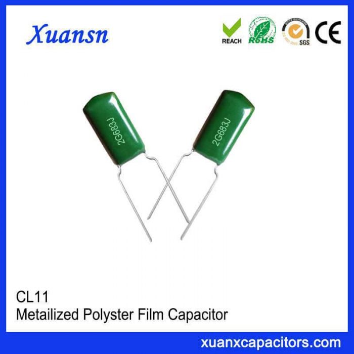 Green CL11 polyester capacitor 683J400V
