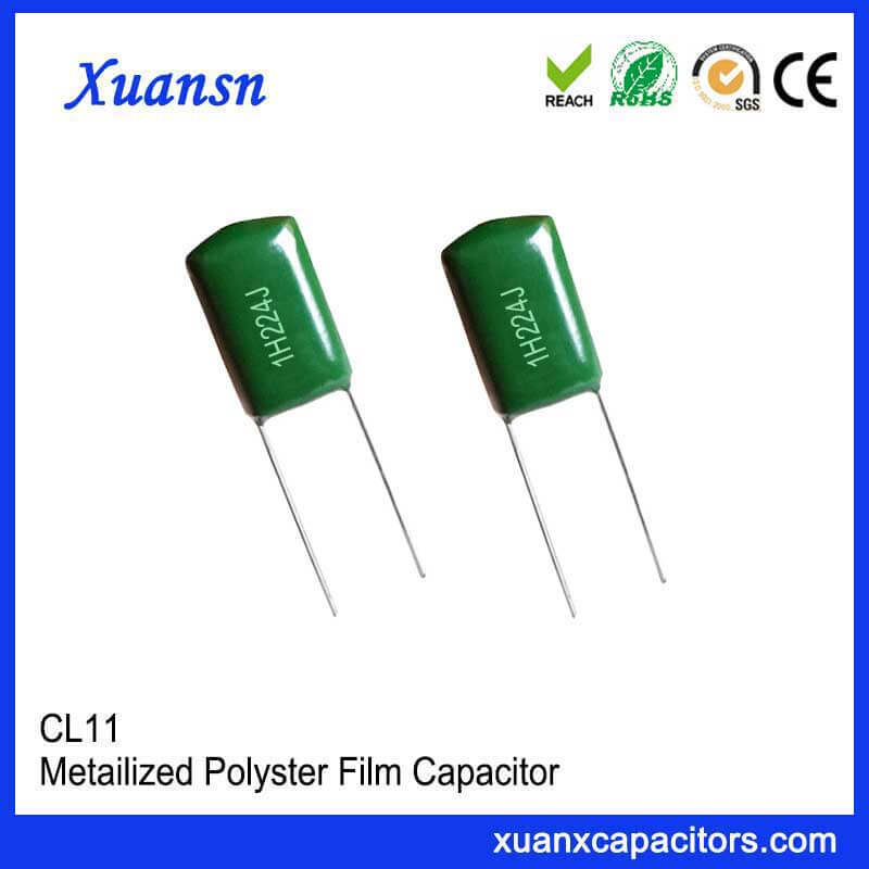 CL11 green polyester capacitor 224J50V