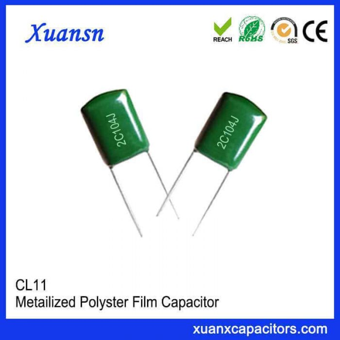 Braided polyester capacitor CL11 104J63V