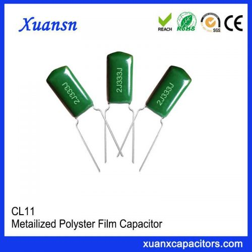 The high dielectric constant CL11 333J 630V polyester film capacitor medium will generate induced charge and weaken the electric field when an electric field is applied.