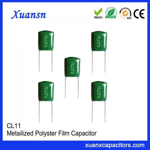The small-volume film capacitor CL11 273J 630V polyester capacitor is reliable and adaptable to the environment. It is used in the coupling, decoupling, bypass,