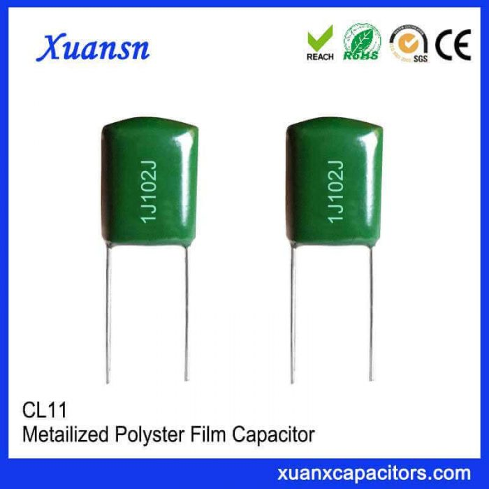 63V plug-in green polyester film capacitor