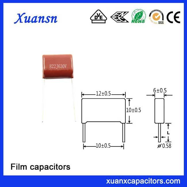 822J polypropylene film capacitor applications