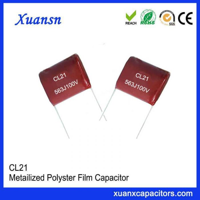 p=10mm CL21 polyester film capacitor