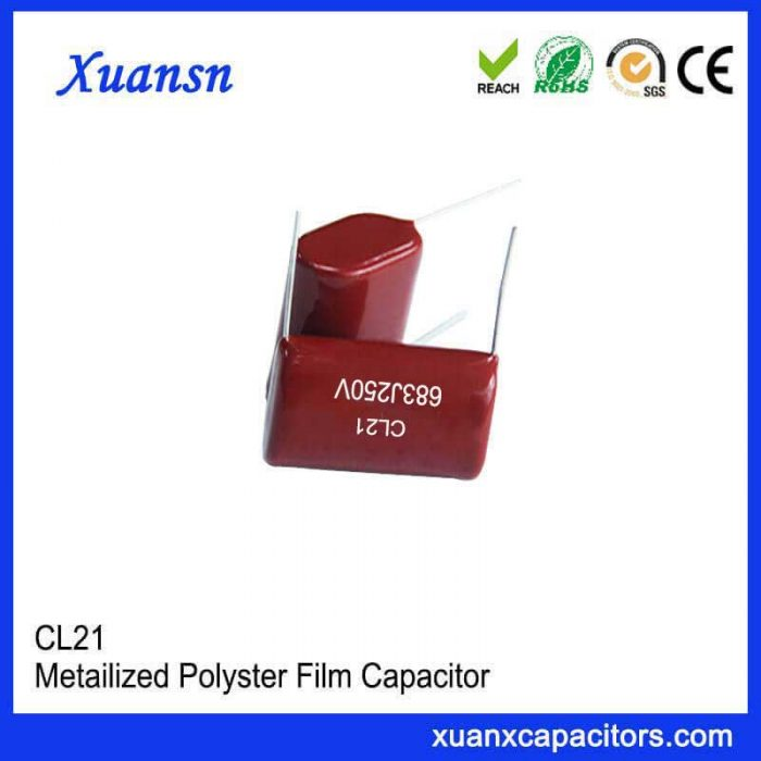Metal polyester film capacitors for DC blocking