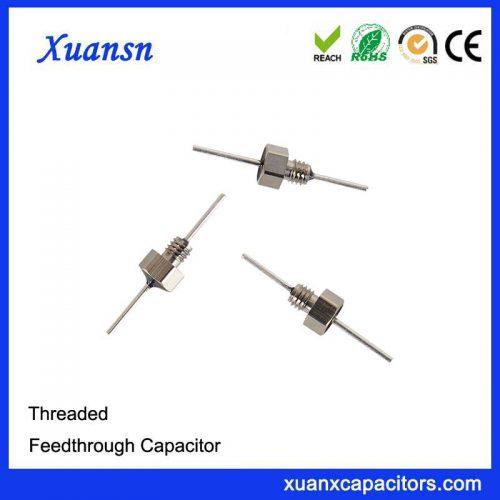 Threaded ceramic feedthrough capacitor